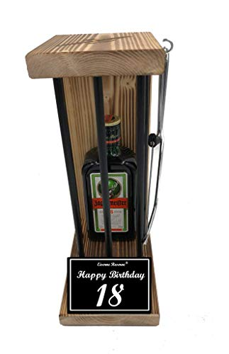 Happy Birthday 18 Geburtstag - Eiserne Reserve ® Black Edition Jägermeister 0,35L incl. Säge zum zersägen der Stäbe - Die lustige Geschenkidee