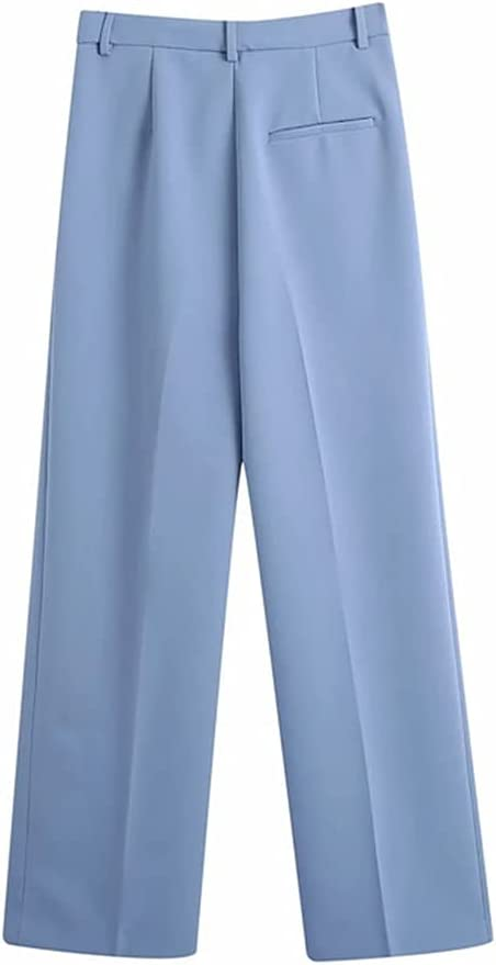 GYZCZX Women Jacket Coat and Pant 2 Piece Set Female 2021 Spring Autumn Elegant Casual Suits Outfits (Color : Blue, Size : XS)