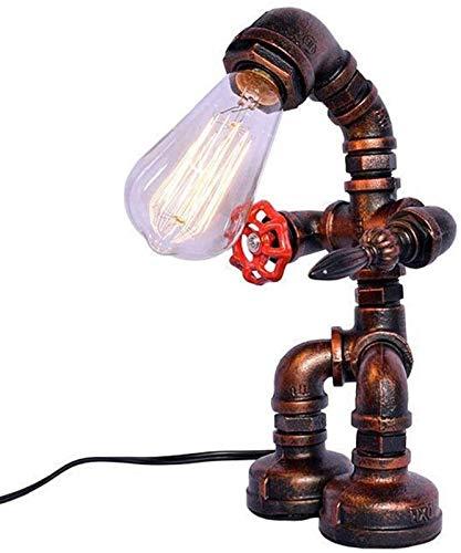 XLY Lámpara de Mesa Dormitorio Lámpara de Mesa de la Vendimia, Tubos de Hierro Retro Industrial de Agua Ligera de Escritorio de la cabecera turística (Robot Steampunk) (Color : Green Bronze)