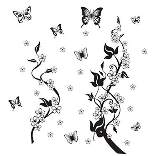 Tattoo an der Wand Schmetterlinge auf dem Kühlschrank, Schmetterling Wandaufkleber Flores Wandaufkleber Wohnkultur Weinrebe adhesivo entfernbares vinilo