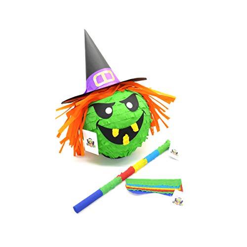 Nislai® Hexe Pinata Set | Halloween Pinata | für die Halloween Party | als Pinata Geburtstag | Pinata Geschenk | für die Grusel-Party | inkl. Stock & Maske | u. 40x33x25 cm