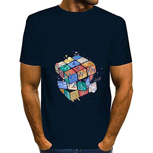 ZIXIYAWEI 3D Camisetas para Hombre Patrón De Cuadros De Graffiti Abstracto Colorido Camiseta De Hombre Camiseta Unisex Impreso En 3D Verano Casual Camisetas De Fiesta De Manga Corta-XL
