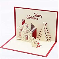 JPSOUP カードグリーティングカード3Dステレオをグリーティングカードの音楽をグリーティングカードクリスマスカードホリデーグリーティングクリスマス音楽(カラー:イエロー) (色 : Red)