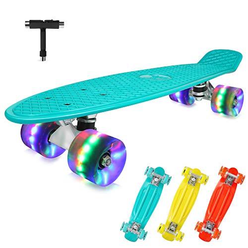 BELEEV Skateboard Komplette Mini Cruiser Skateboard für Kinder Jugendliche Erwachsene, Led Leuchtrollen mit All-in-One Skate T-Tool für Anfänger (22 Zoll, Teal)