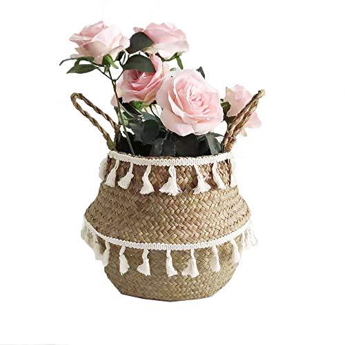 Szetosy - Cesta de junco para almacenamiento de Goodchance UK, con pompones. Cesta plegable tejida y con asa para ropa, juguetes, plantas o para usar en el cuarto del bebé, Estilo#10, 22 x 20 cm