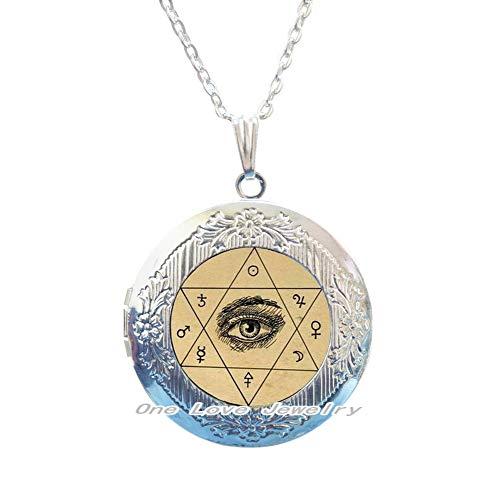 Ni36uo0qitian0ozaap Collar de medallón oculto de ojo místico,Collar de medallón hexagonal de mística,Joyería de cristal,TAP162