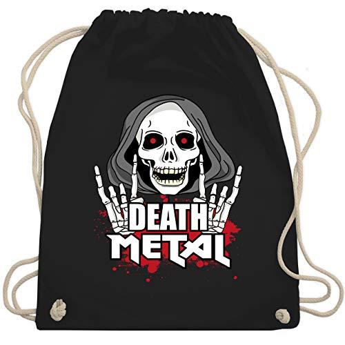Shirtracer Metal - Death Metal Skelett rot - Unisize - Schwarz - Metal - WM110 - Turnbeutel und Stoffbeutel aus Baumwolle