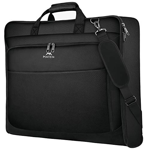 Garment Bags, Large Suit Travel Bag with Pockets & Shoulder Strap, Matein Professional Foldable Carry On Bag for Business Trip, Waterproof Luggage Bags for Travel for Men Women, Black
