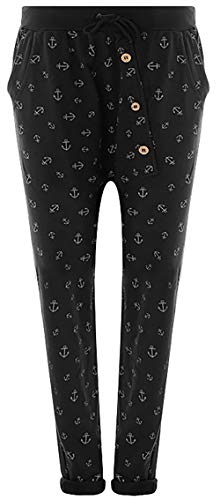 Fashion YOU WANT Damen Jogginghose Gr. 36-50 Sweatpants Sterne Boyfriend Ali Baba Style Anker Camouflage Uni Blumen Muster (42/44, Anker schwarz)