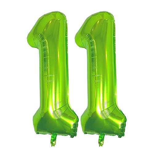 DIWULI, XXL globos gigante de número, numero 11, globo verde, globos de números aluminio años grande, 11° Cumpleãnos niña niño joven, Fiestas, decoración, birthday decoracion, foil balloon infantil