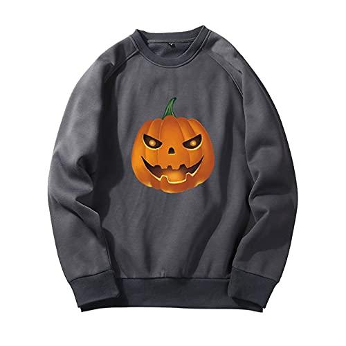 YingeFun Mens Graphics Hoodies Halloween Fleece Pullover Novelty Sport Sweatshirt Teen Plain Simple Tops Fall & Winter Dark Gray