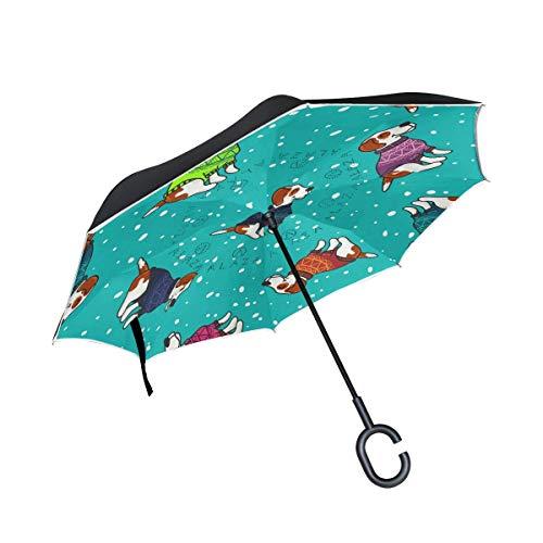 HYJDZKJY Dubbele Laag Omgekeerde Paraplu Cars Omgekeerde Paraplu Honden Truien Sneeuw Winddicht UV Bewijs Reizen Outdoor Paraplu