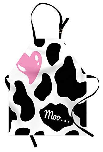 ABAKUHAUS Piel de Vaca Delantal de Cocina, Camuflaje Escondite Patrón en Blanco y Negro con Bonito Corazón Rosa Moo, Los Colores No Destiñen Ajustable Estampa Digital, Blanco