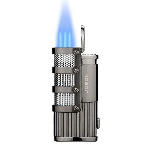 TOPKAY Briquet Allume-Cigare, Briquet Tempete Gaz, Briquet Triple Jet à Flamme, Briquet Gaz, Briquet pour Pipe, Briquet à Essence Rechargeable avec Coupe-Cigare (Noir)