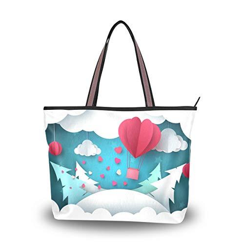Bolsos de hombro Capacity Girl Origami Aerostat Spruce Clouds Tote Bag Shopping Pouch Handbag Women