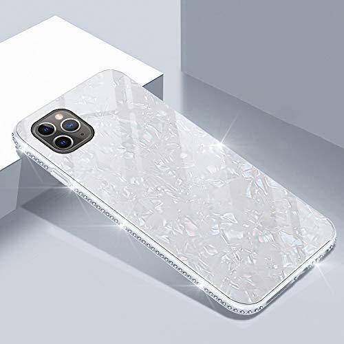 UEEBAI Hülle für iPhone 11 6.1 Zoll, Muschel Design Handyhülle Ultra Slim mit Eingelegt Glitzer Diamant Strass Gehärtetes Glas Zurück Abdeckung Flexible TPU Bumper Case Anti Kratzer Frauen - Weiß