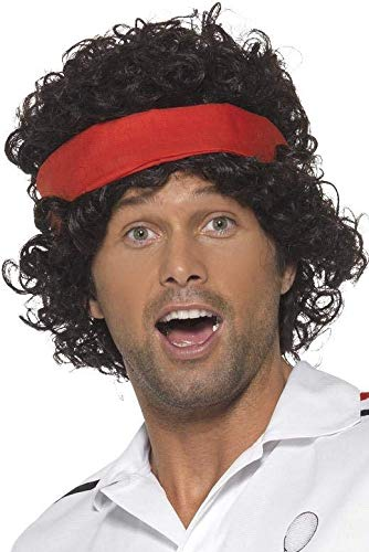 Smiffys Heren krullende pruik met hoofdband, 80er Tennis Star, Zwart, One Size, 42115