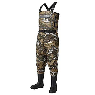 Bassdash Breathable Ultra Lightweight Veil Camo Chest Boot Foot Stocking Foot Fishing Hunting Waders for Men in 8 Sizes