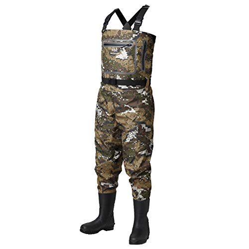 Bassdash Breathable Ultra Lightweight Veil Camo Chest Stocking Foot Fishing Hunting Waders for Men in 7 Sizes (Boot Foot, XL)