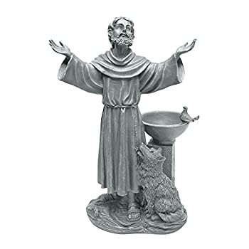 Design Toscano JE14106 St Francis  Blessing Religious Garden Decor Statue Bath Bird Feeder 19 Inch Greystone