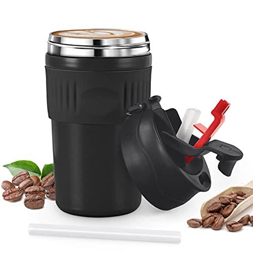 Tusenpy 480ml Taza Termico de Cafe con Pajita,Tazas Termo a Prueba de Fugas,Botella de Café de Viaje para Llevar,Acero Inoxidable,Dos Formas de Beber (Negro)