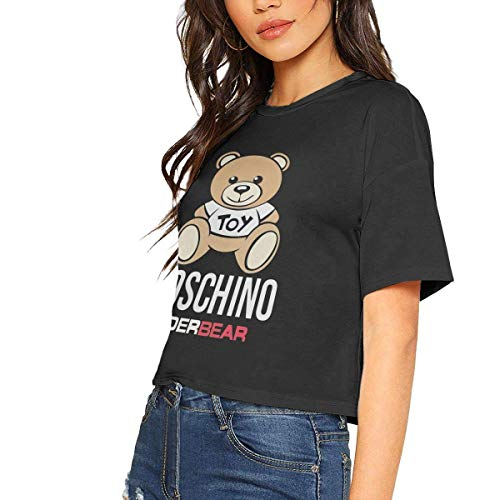 LADIZIO Moschino UnderBEAR Sexy Exposed Navel Female T-Shirt Bare Midriff Crop Top T Shirts