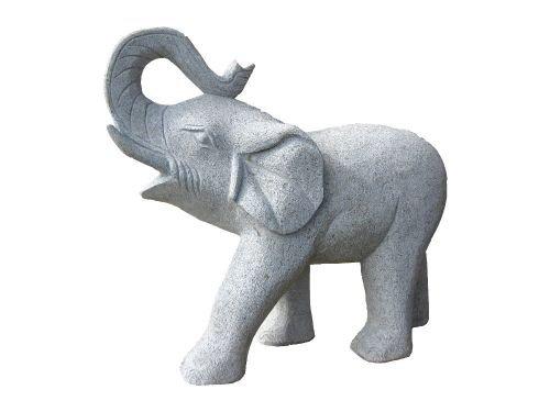 Natursteinzentrum Rhein Main Elefant aus Granit, Rüssel Oben (40 cm)