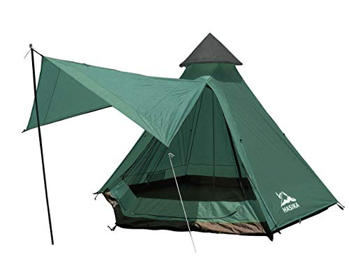 Teepee Camping Conical Tent with Screen Room for Family Camping Waterproof Windproof 4 Person Green 12x10x8ft (Green)