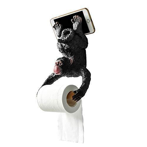 LIJUCAI Creativo Hang Monkey Statue Soporte de Papel en Rollo Montaje en Pared Escultura de Resina Decoración de baño para el hogar Regalo Decoración para Fiestas, como se Muestra