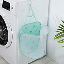 Mesh Hanging Popup Laundry Hamper, Foldable Pop-up Mesh Hamper Dirty Clothes Basket With Carry Handles Easy to Open and Fo...