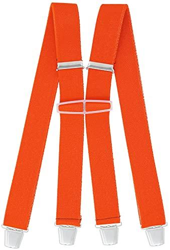 Xeira Herren 36mm Hosenträger mit 4 Sehr Soliden Clips Orange Normale Länge (One Size)