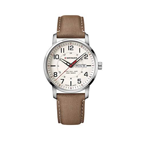Wenger Hombre Attitude - Reloj de Acero Inoxidable/Cuero de Cuarzo analógico de fabricación Suiza 01.1541.103