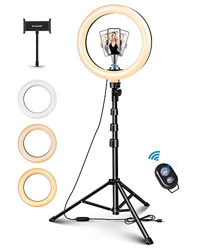 "ELEGIANT 10"" Aro de Luz Selfie Trípode, Anillo de Luz LED con Soporte para Móvil con Control Remoto Regulable para Transmisión en Vivo, Maquillaje Youtube Tiktok Fotografía Compatible con iOS Android"