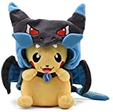 Nucifer Pikachu Plush Stuffed Animal Toys with Smiley Face Cosplay in MEGA Charizard Gifts for Christmas Valentine's Day (8 inch)
