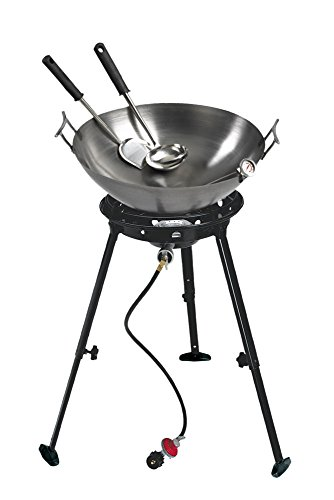 Eastman Outdoors 37212 Outdoor Gourmet 22 Inch Carbon Steel Wok Kit,Black & Steel