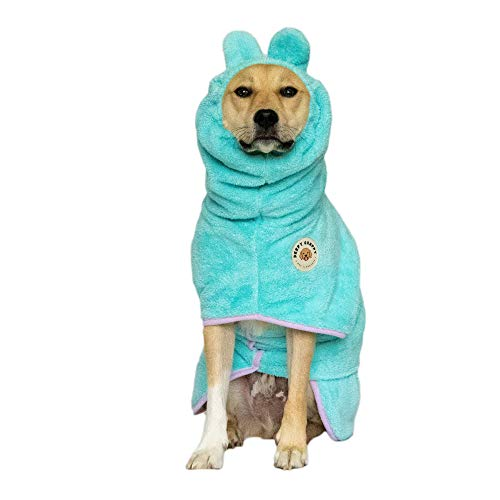 Derpy Chappy Premium Dog Bathrobe Towel, Absorbent Microfiber Bath Robe for Small Medium Extra Large Dogs and Cats, Stylish Cozy Quick Pet Drying Coat for Bath, Beach and Travel, Dog Mom Gift, Mint L