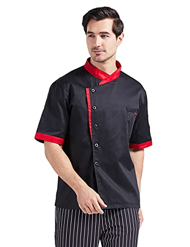 Nanxson Chaqueta de Chef Cocinero con Chaqueta Unisex Hotel/Cocina Manga Larga Ropa de Trabajo Uniforme Chef Coat Blanco CFM0016 (Manga Corta Negra, XL)
