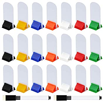Meetory 45 Pieces Blank Game Board Markers and 35 Pieces Game Card Stands with 2 Pcs Black Marker Pens Plastic Token Cards DIY Game Markers with 7 Multi-Color Card Stands for Party Favor