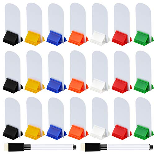 Meetory 45 Pieces Blank Game Board Markers and 35 Pieces Game Card Stands with 2 Pcs Black Marker Pens, Plastic Token Cards DIY Game Markers with 7 Multi-Color Card Stands for Party Favor