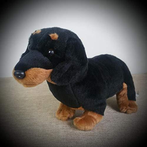 yitao Peluches Zoo Toys Dachshund Perro De Peluche De Felpa Suave Peluche De Juguete 12 Pulgadas Negro Marrón Nuevo