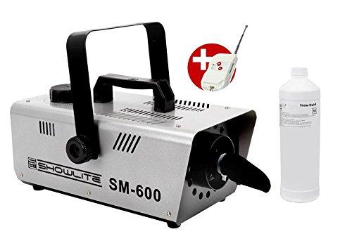 Set completo Showlite SM-600 macchina neve 600W incl. telecomando + 1 L fluido