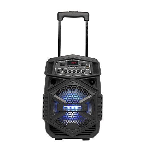 Denver Bluetooth-Trolley-Lautsprecher \'TSP-110\' mit LED-Beleuchtung, Bluetooth, microSD-Slot, USB-Input und AUX-Anschluss, Schwarz