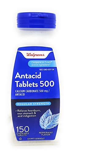 Walgreens Regular Strength Antacid/Calcium Supplement Chewable Tablets Peppermint 150 ea by Walgreens