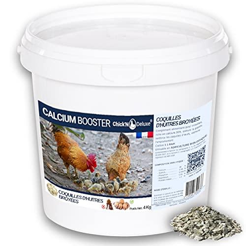 ChickN Deluxe® CALCIUM BOOSTER 4Kg. Complément alimentaire pour poules pondeuses. Produit minéral naturel riche en calcium, stimule la ponte, renforce la coquille dœuf, utilisable en Agriculture Bio