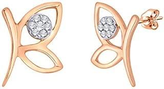 0.05 Cttw Butterfly Element Diamond Stud Earrings 10kt White Gold (I-J/SI-I1) IGI Certified Diamond Studs Push Back Butterfly Stud Earrings