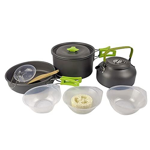 SHHMA Camping Cookware, Kit de mochilero portátil para cocinar, 8 PCS Pot Pan Set con vajilla para Camping al Aire Libre Senderismo Picnic,Verde