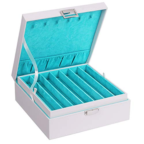 BEWISHOME Necklace Organizer Box Necklace Holder for Chains, Bracelets - 12 Compartments (7 Regular + 5 Large), 6 Hooks, 2 Layers - Jewelry Box for Grils Women, White SSH31W