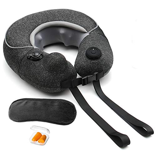 Sunlite Travel Neck Massage Pillow Inflatable, Cordless and Rechargeable U-Shaped Massager, 3D Shiatsu Deep Kneading, for Neck Pain Relief,with Bag, Eye Mask, Ear Plug (Black)