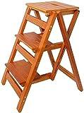 Taburete En Madera Maciza - Taburete Plegable - Librero Plegable - Taburetes - Taburete de Madera Multifunción para Cocina, Utilizando Escritorio con Escalera (Tamaño: A) Escalera de Mano