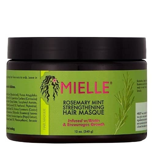 Mielle Organics Rosemary Mint Strengthening Hair Masque, Infused w/Biotin and Encourages Growth, 12 Ounces